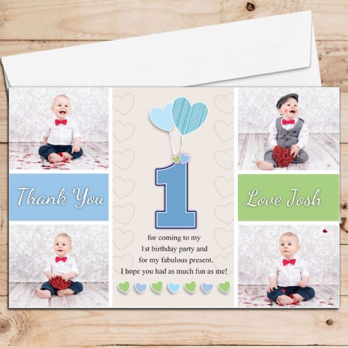 10 Personalised Boys Heart Balloons Birthday Thank you PHOTO Cards N249